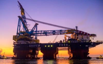 Kraanschip Saipem 7000 doet opnieuw de Eemshaven aan